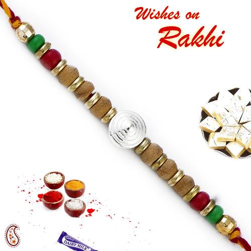 Aapno Rajasthan Sandalwood Rakhi with Magenta & Green Beads