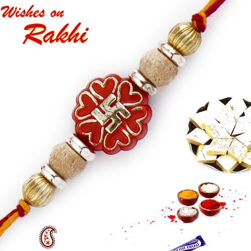 Aapno Rajasthan Stylish Golden Swastik Motif & Sandalwood Beads Rakhi