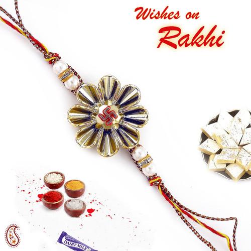 Aapno Rajasthan White Beads & AD Studded Swastik Rakhi