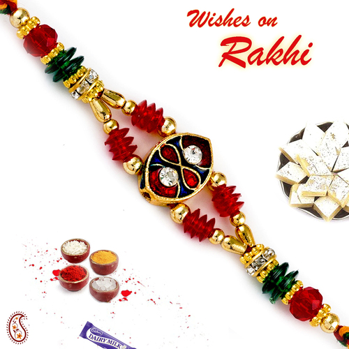 Aapno Rajasthan Crystal Beads Studded Meenakari Work Rakhi