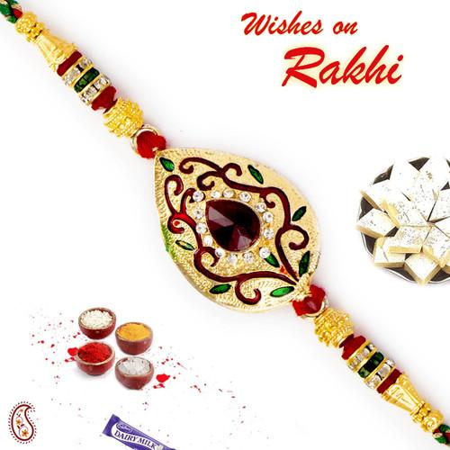 Aapno Rajasthan Multicolor Crystal Beads & AD Studded Golden Base Rakhi