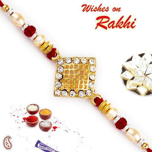 Aapno Rajasthan AD Studded Jaal Pattern Jewelled Rakhi