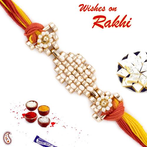Aapno Rajasthan Beautiful White Beads Studded Metallic Rakhi