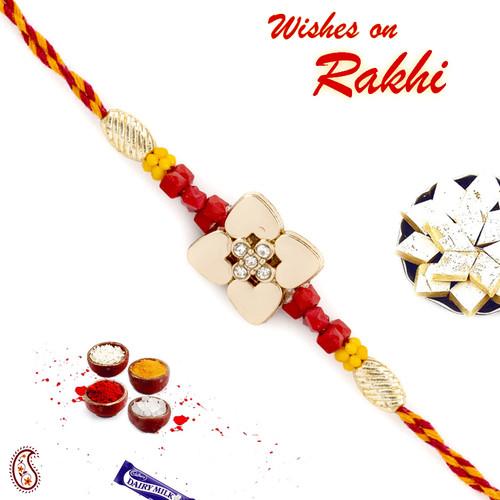 Aapno Rajasthan Metallic Flower Design Rakhi with Colouful Beads
