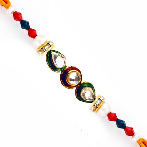 Kundan & Crystal Beads Studded Charming Rakhi