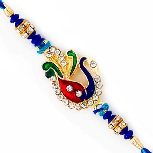 Blue Beads & AD Studded Peacock Design Rakhi