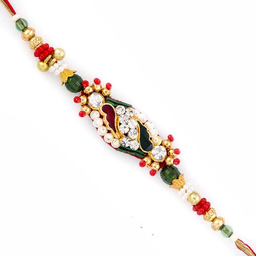 Charming Multicolor Crystal Beads Stylish Rakhi