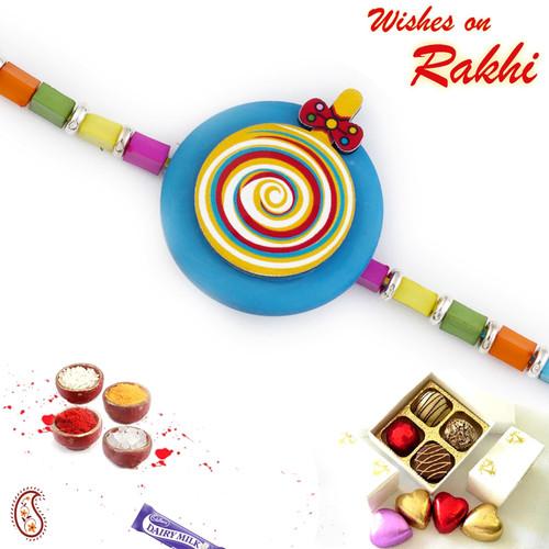 Aapno Rajasthan Multicolor Rainbow Style Kids Rakhi