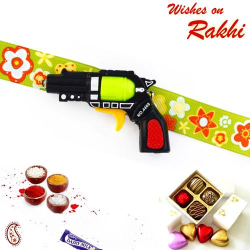 Aapno Rajasthan Stylish Gun Motif Green Band Kids Rakhi