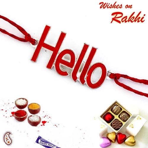 Aapno Rajasthan Stylish & Charming Red Hello Motif Kids Rakhi