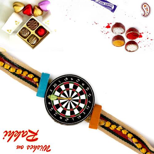 Aapno Rajasthan Stylish Dart Board Kids Rakhi with Colourful Band
