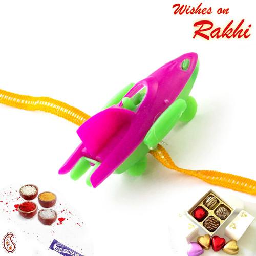 Pink & Green Boat Ship Kids Rakhi