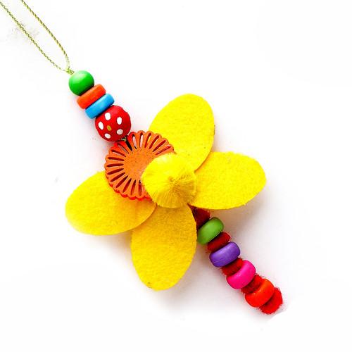 Yellow Butterfly and Beads Lumba Rakhi