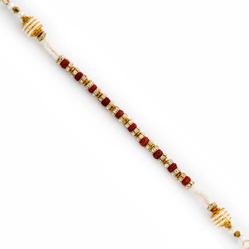 AD, Rudraksh & Pearl Studded Bracelet Rakhi
