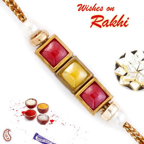 Aapno Rajasthan Red & Yellow Tri Square Motif Fancy Rakhi