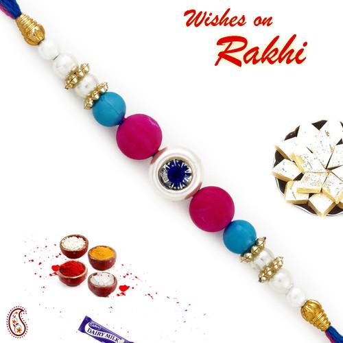 Aapno Rajasthan Pink, Blue & White Beads Studded Elegant Rakhi