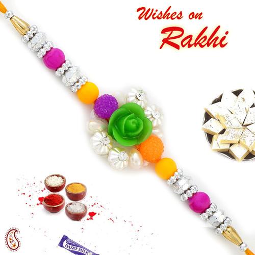 Aapno Rajasthan Green Rose Multicolor Beads & AD studded Rakhi