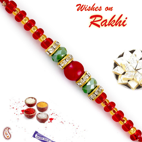 Aapno Rajasthan Solid Red & Crystal Green Beads Embellished Rakhi