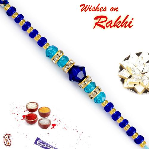 Aapno Rajasthan Crsytal Blue Beads & AD Studded Elegant Rakhi
