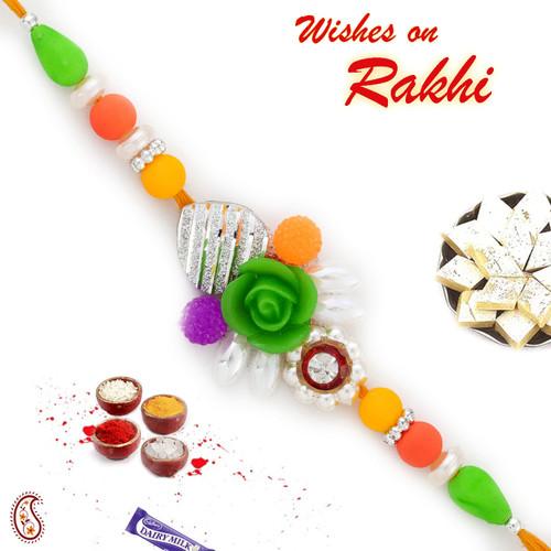 Aapno Rajasthan Multicolor Beads Studded Rose Motif Rakhi
