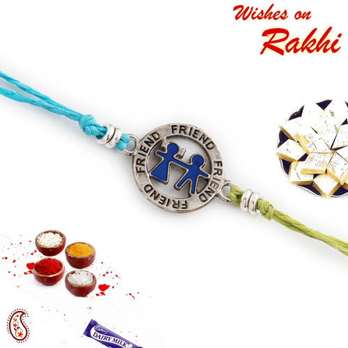 Aapno Rajasthan Metallic Friend Motif Rakhi for Bhai In Blue
