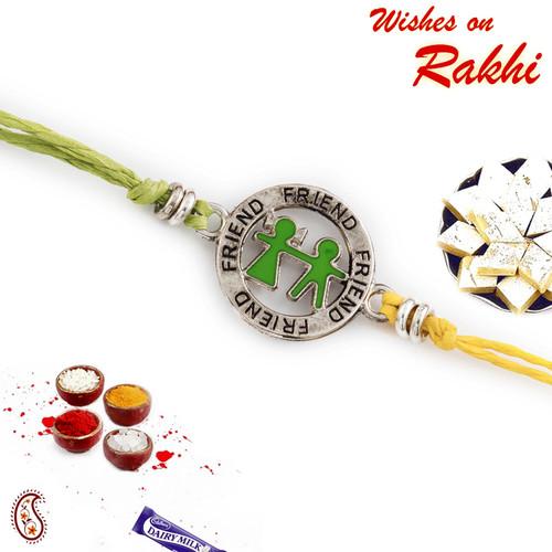 Aapno Rajasthan Metallic Friend Motif Rakhi for Bhai In Green