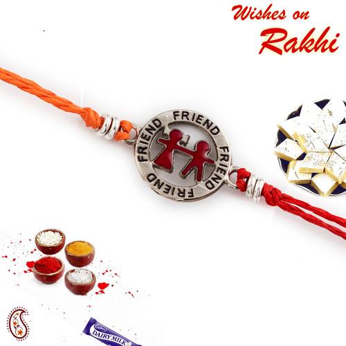 Aapno Rajasthan Metallic Friend Motif Rakhi for Bhai In Red