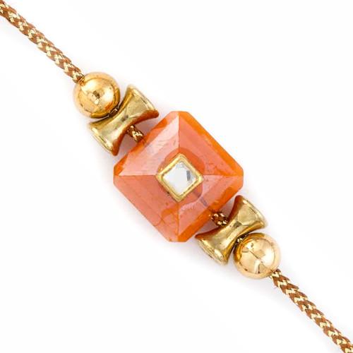 Round & Damroo Style Beads Rakhi