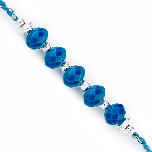 Silver & Blue Crystal Beads Rakhi