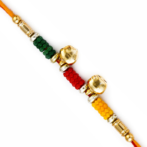 Colorful Beads Rakhi with 2 Small Bells
