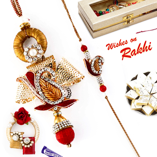 Aapno Rajasthan Golden & Red Paisley Design Bhaiya Bhabhi Rakhi Set