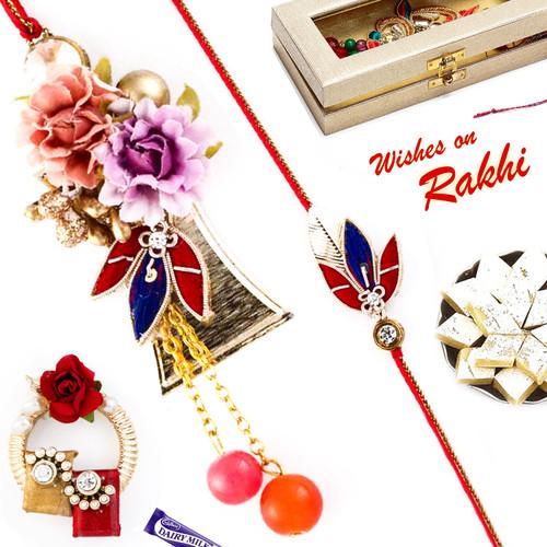Aapno Rajasthan Beautiful Flower & Leaf Style Bhaiya Bhabhi Rakhi Set