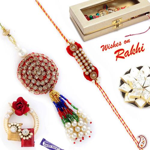 Aapno Rajasthan Zardosi and American Diamond Bhaiya Bhabhi Rakhi Set