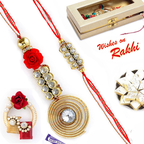 Aapno Rajasthan Spiral Metallic Bhaiya Bhabhi Rakhi Set with American Diamonds