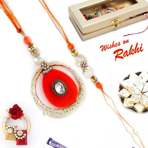 Aapno Rajasthan Metal Ring and Crystal Bhaiya Bhabhi Rakhi Set