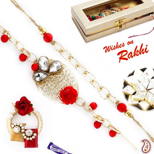 Aapno Rajasthan Bhaiya Bhabhi Rakhi Set with Metal Filigree work