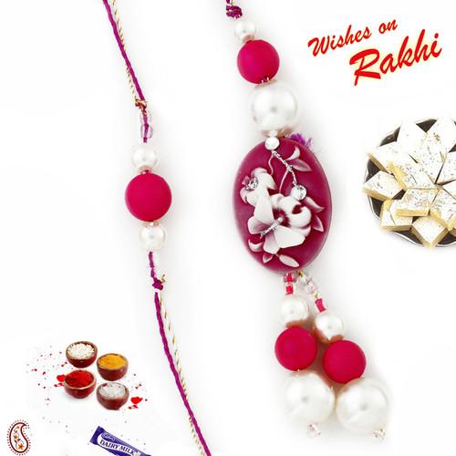 Aapno Rajasthan White & Fuschia Beads Beautiful Bhaiya Bhabhi Rakhi Set