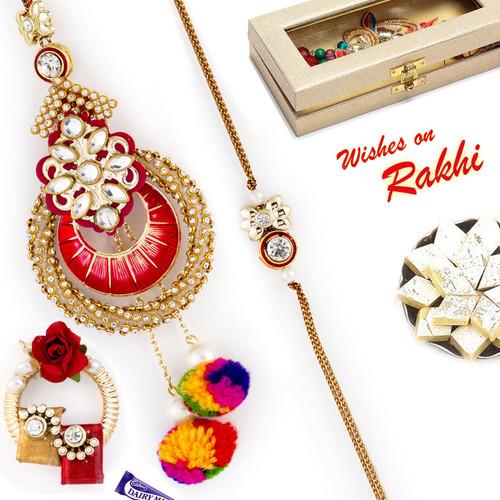 Aapno Rajasthan AD & Cotton Drop Beads Emellished Bhaiya Bhabhi Rakhi Set