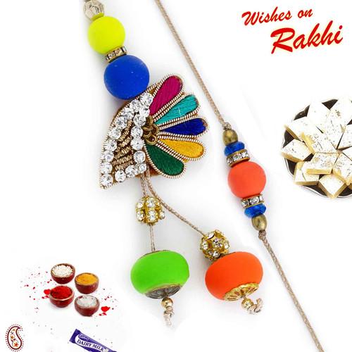 Aapno Rajasthan Fluoroscent Beads Zardosi Bhaiya Bhabhi Rakhi Set