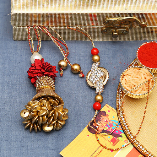 Red and Golden AD stud Bhaiya Bhabhi Rakhi Set