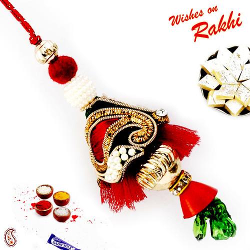 Aapno Rajasthan Rich Zardosi Work Red Lumba Rakhi