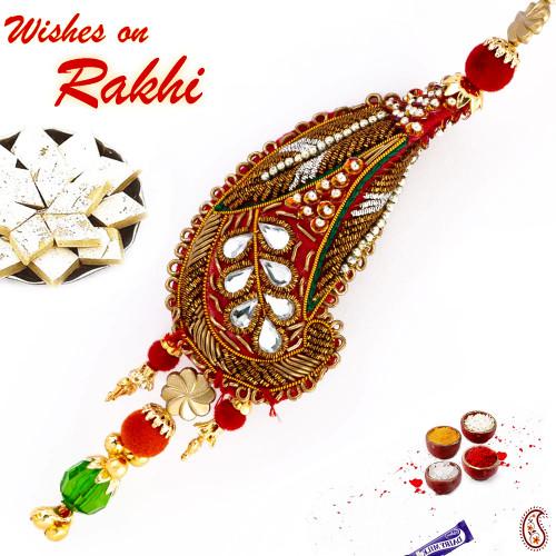 Aapno Rajasthan Traditional antique finish Zardosi Lumba Rakhi