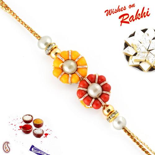 Aapno Rajasthan Red and Orange Beads Rakhi
