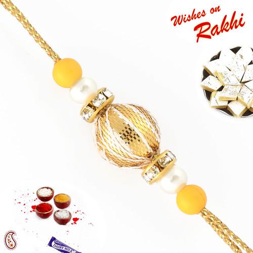 Aapno Rajasthan Golden Ball and Pearl Bead Rakhi