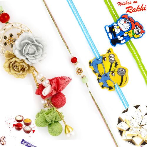 Aapno Rajasthan Tissue Flower work Family Rakhi Set with 2 Kids Rakhis