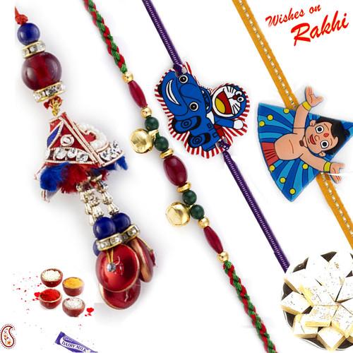 Enchanting Red Shade Family Rakhi Set with Chhota Bheem & Doremon Kids Rakhis