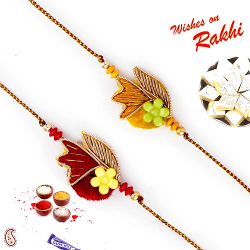 Aapno Rajasthan Set of 2 Red & Yellow Base Zardosi Rakhi