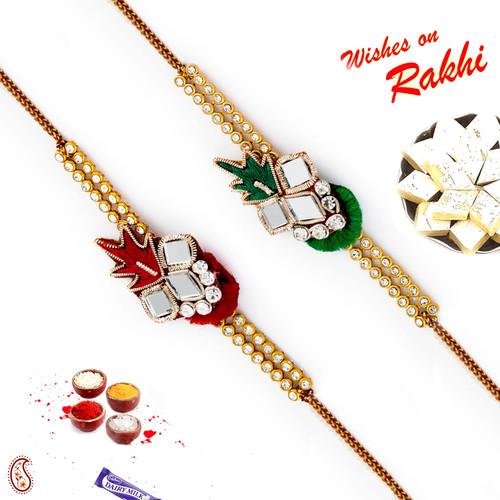 Aapno Rajasthan Set of 2 Mirror Work Red & Green Rakhi