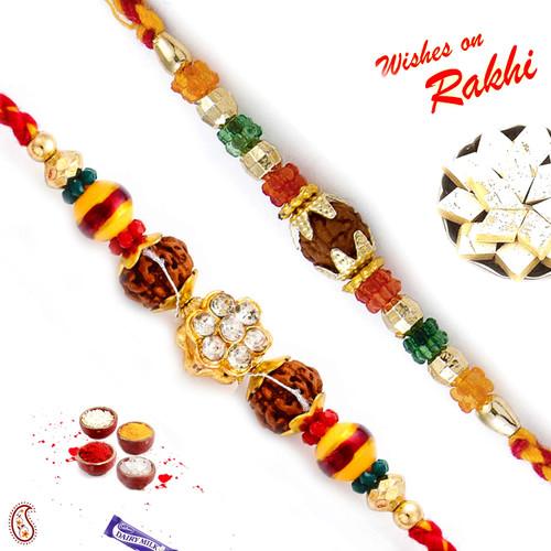 Aapno Rajasthan Set of 2 Multicolor Beads Rudraksh Rakhi