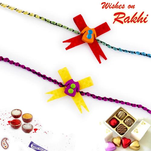 Aapno Rajasthan Set of 2 Yellow & Red Dress Motif Kids Rakhi